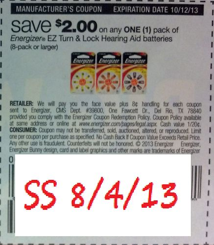 Save $2.00 on any one (1) pack of Energizer EZ Turn & Lock Hearing Aid Batteries (8 pack or larger) Expires 10/12/2013