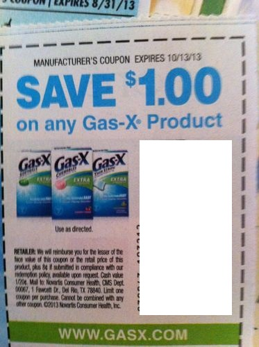 Save $1.50 on any 48 ct or larger Gas-X product Expires 10/13/2013