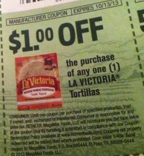 $1.00 off the purchase of any one LA VICTORIA Tortillas Expires:  Oct-13-2013